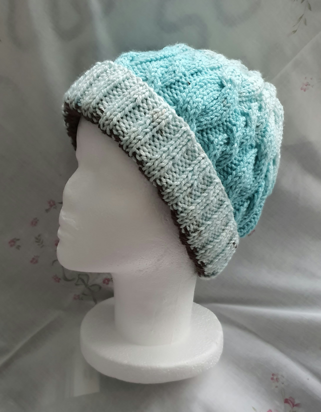 Ladies hand-knitted cable hat, turquoise, grey and brown