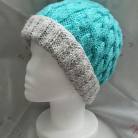Turquoise & Grey Ladies cable hand-knitted Aran hat