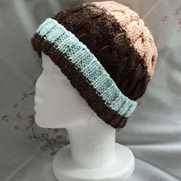 Brown hand-knitted Ladies Aran Hat