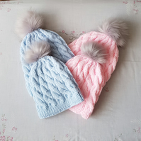 Childs Aran Pompom Hat