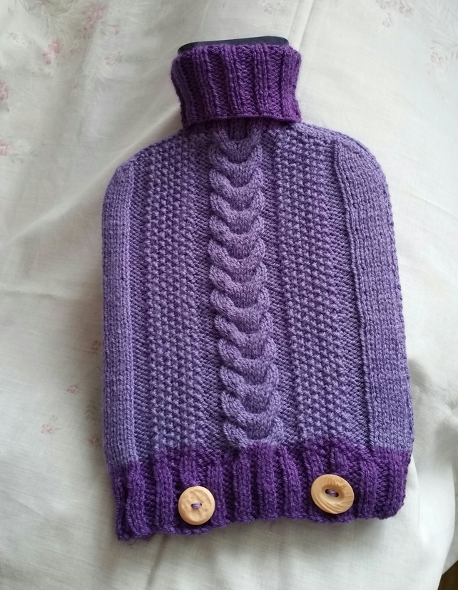 Two-tone purple hot water bottle cover, hand-knitted