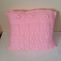 Pink Waffle cushion, hand-knitted cover