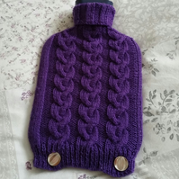 Purple hot water bottle cover, hand-knitted