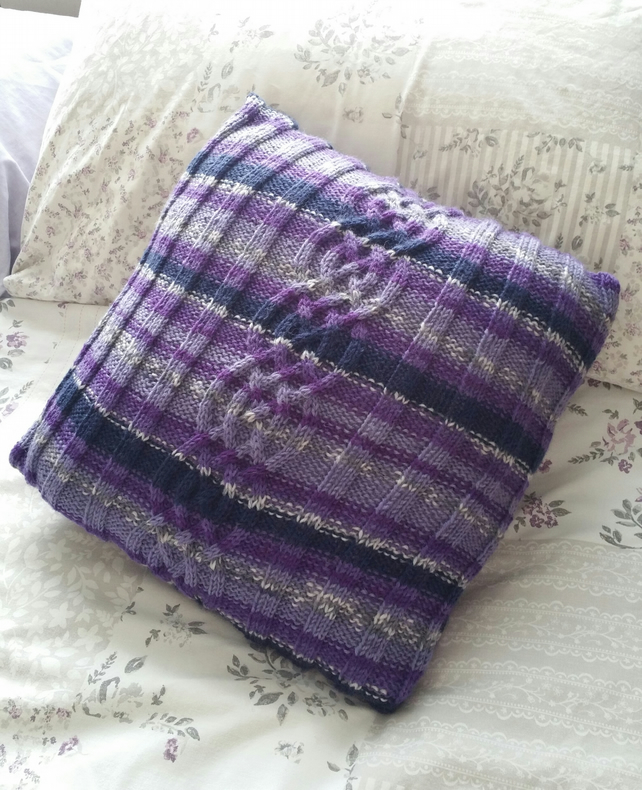 Purple Celtic knot cushion, hand-knitted