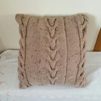 Brown Cable hand-knitted Cushion