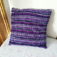 Purple Waffle cushion, hand-knitted