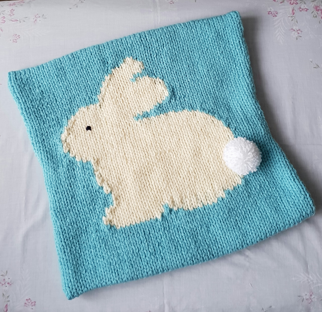 Bunny cushion cover, hand-knitted