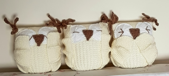 Owls, hand-knitted nursery decorations