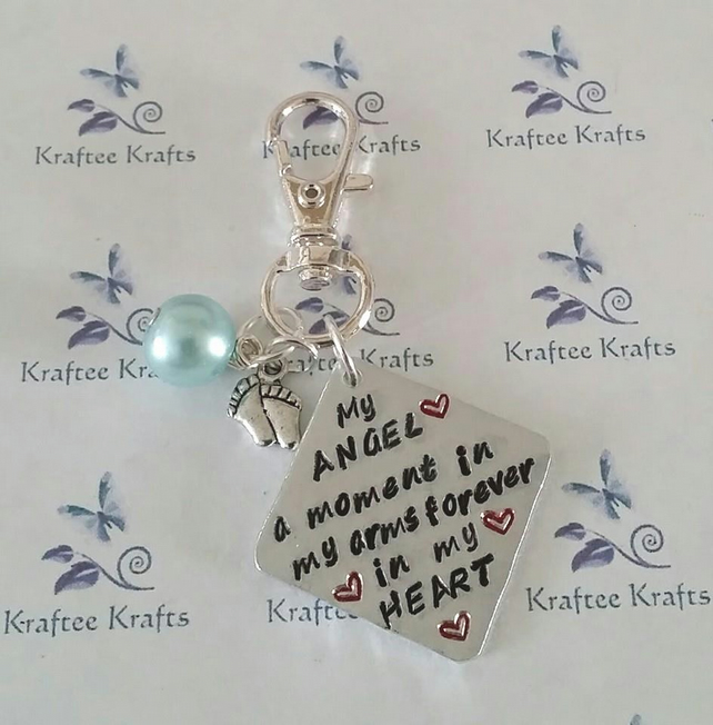Baby memorial bag charm, hand-stamped