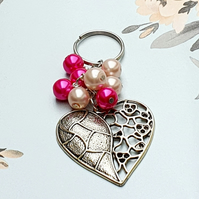 Large Heart beaded bag charm