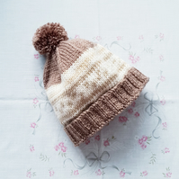 Childs bobble hat, hand-knitted