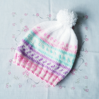 Pastel Girls bobble hat, hand-knitted