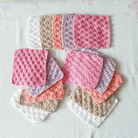 Girls Cotton reusable clothes, baby wipes, hand-knitted