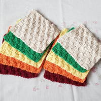 Unisex Cotton face cloths, hand-knitted