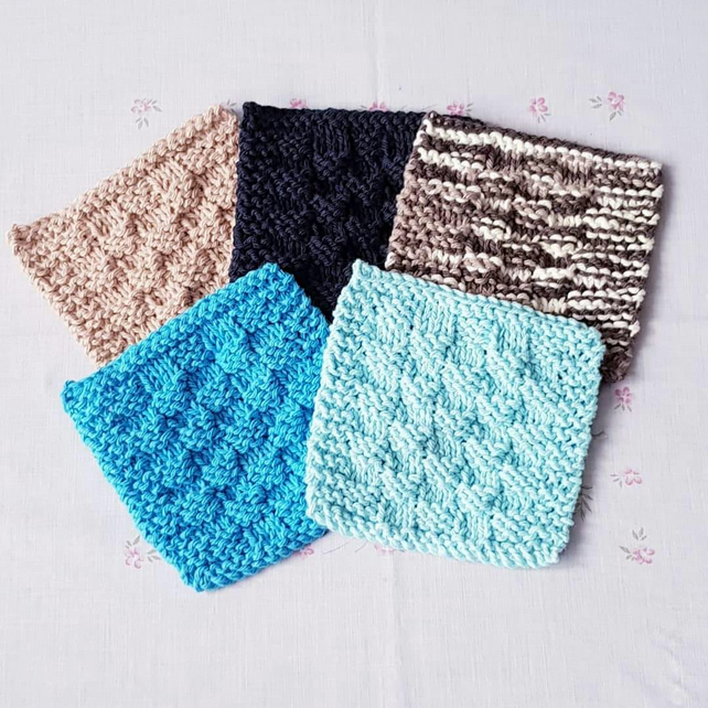 Masculine cotton reusable scrubbies, face cloths, hand-knitted