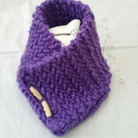 Chunky Purple Neckwarmer, hand-knitted