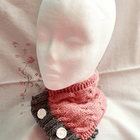 Dusky Pink & Grey Neckwarmer, hand-knitted