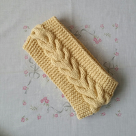 Cream Ladies headband, ear warmer, hand-knitted