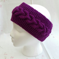 Purple Ladies Headband, ear-warmer, hand-knitted