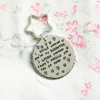 Daughter handstamped keyring