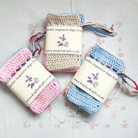 Pastel Soap Saver bags, crochet