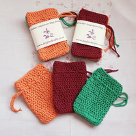 Unisex Cotton Soap Saver Bags, crochet