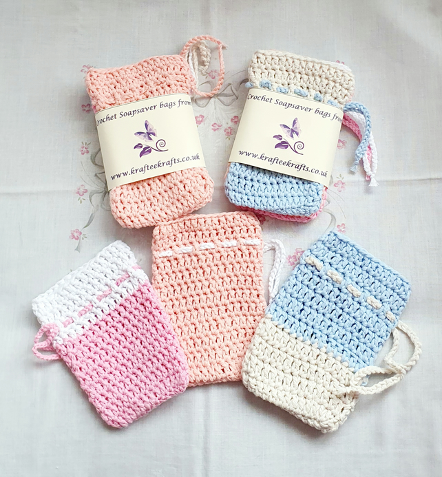 Two-tone Pastel Soap Saver bags, crochet