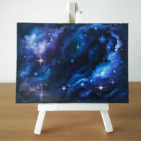 "Galaxy Mini Painting with Easel 5"" x 7"" Canvas Board - Free UK Postage"