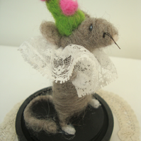Needle Felted Mouse in dome