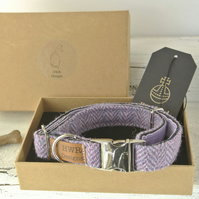 Harris Tweed Lavender Herringbone medium Dog Collar