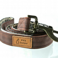Waxed cotton brown dog collar, designer dog lead, stylish dog lead