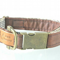 Waxed Cotton Brown dog collar, designer dog collar