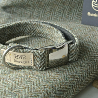 Harris Tweed Dog collar medium, Herringbone brown tweed collar
