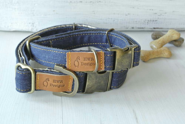 Denim Dog Collar, Designer Dog collar, Blue Jeans Dog collar