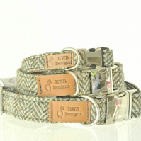Small Harris Tweed Dog collars, Small Olive brown Herringbone dog collar