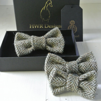 Harris Tweed Brown Bow Tie, Small, Dog bow tie, Olive brown and Green bow tie
