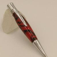 handcrafted ballpoint  pen in red and black acrylic
