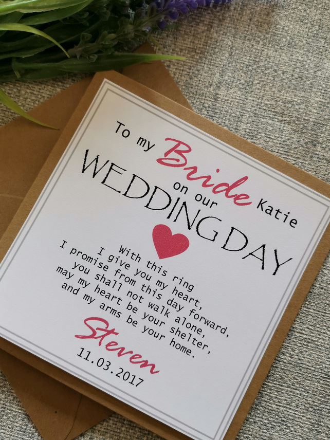 Personalised Card On Our Wedding Day Husband//Wife//BrideTo Be Lilac Any Colour