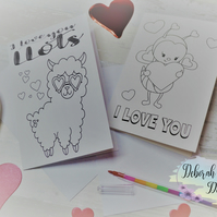Colour Your Own Valentine's Cards