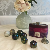 Harris Tweed covered hip flask with mini funnel.