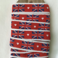 Woven labels of Union jacks.  FREE UK DELIVERY
