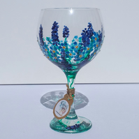 Forget me nots Grape hyacinths blue gin glass hand painted