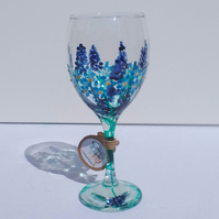Forget me nots grape hyacinths blue wine glass (can personalise)