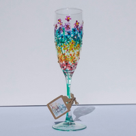 Rainbow Flowers Champagne Flute Hand painted (can personalise)