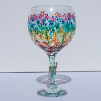 Rainbow Flowers Gin Glass hand painted (can personalise)