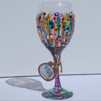 Carnival of Colour Rainbow Splashes Wine Glass hand painted
