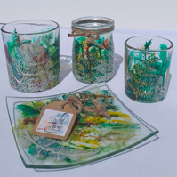 Woodland Ferns Fairy Magical Glass Candle Holder & Dish Gift Set Hand Painted