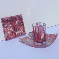 Marble Effect Hand Painted Glass Candle Holder, Dish & Coaster Set