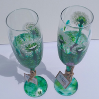 Dandelion Meadow Pair of Hand Painted Champagne Flutes (can personalise)