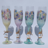 Sugar Coated Ice Flowers, Set of 4 Hand Painted Champagne Prosecco Flutes